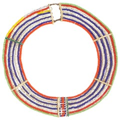 Vintage Nine-Strand Beaded Samburu Tribal Collar Necklace