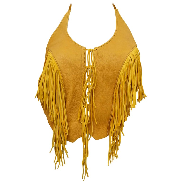 Vintage Tan Leather Fringed Halter Top Medium
