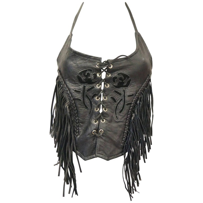 1970s Leather Lace Up Halter Top w/ Fringe and Suede Details