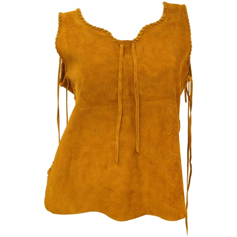 1970s Suede Vest With Braided Fringe