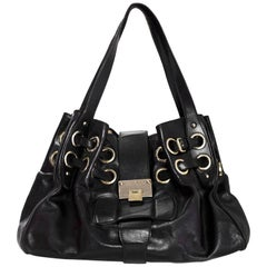 Jimmy Choo Black Leather Riki Tote Bag with DB