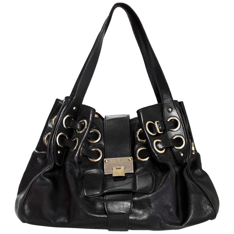 8b3ae0d34f9c Jimmy Choo Black Leather Riki Tote Bag with DB For Sale at 1stdibs