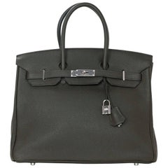 Hermes Vert Bronze Clemence Leather 35cm Birkin Bag with Box & Dust Bag