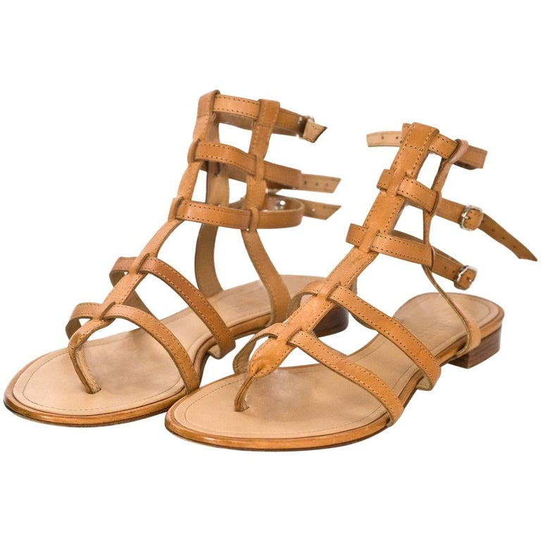 Chanel Tan Leather Gladiator Sandals Sz 37.5