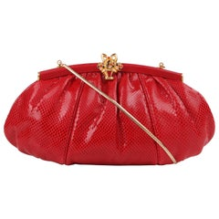 JUDITH LEIBER c.1980's Red Lizard Skin Leather Frame Top Evening Bag Purse