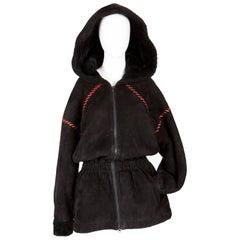 1970s Black Calf Leather Coat Yves Saint Laurent