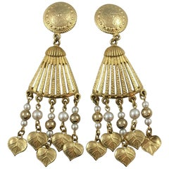 Vintage Givenchy Gold Tone and Faux Pearl Dangle Earrings 1980s