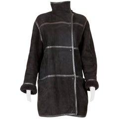 Courrèges Black Calf Leather Coat, 1980s