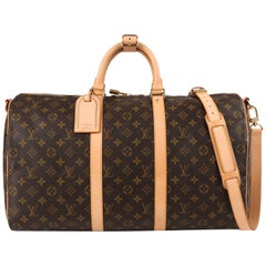"LOUIS VUITTON c.2006 Monogram Canvas ""Keepall Bandouliere 50"" Duffel Travel Bag"