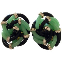 Archimede Seguso for CHANEL Celadon Green Black & Diamante Glass Clip Earrings