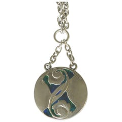"Archibald Knox Liberty & Co. Sterling & Enamel ""Button"" Pendant Neklace & Chain"