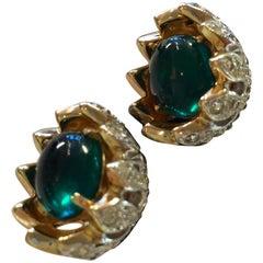 CoroCraft Goldtone Carmen Miranda Screwback Camellia Bud Green Cabochon Earrings