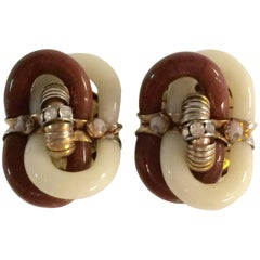 Archimede Seguso for CHANEL Caramel Ivory Glass & Diamante Clip On Earrings