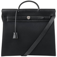 "HERMES c.1999 ""Herbag MM"" Black Leather & Canvas 2-in-1 Convertible Handbag"