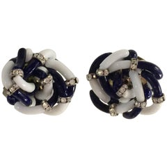 Archimede Seguso for CHANEL Navy Blue White Glass & Diamante Clip on Earrings