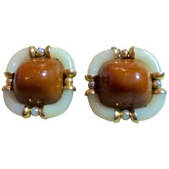 Archimede Seguso CHANEL Caramel Ivory & Diamante Glass Clip On Earrings