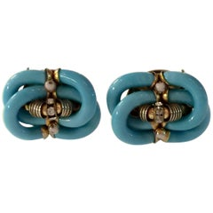 Archimede Seguso CHANEL Turquoise & Diamante Glass Clip On Earrings