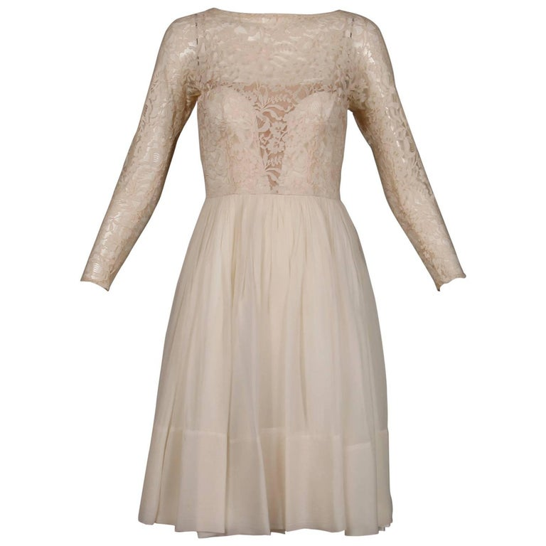 1960s Sandra Sage Vintage Cream Nude Illusion Lace + Silk Chiffon Dress