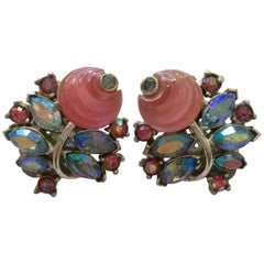 Trifari Pink Aurora Borealis Shoe Button Clip On Earrings