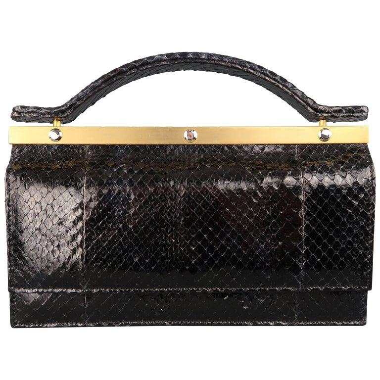 Leu Locati Vintage Black Snake Skin Leather Gold Metal Evening Handbag