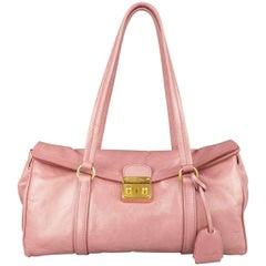 MIU MIU Pink Textured Leather Gold Lock Shoulder Handbag
