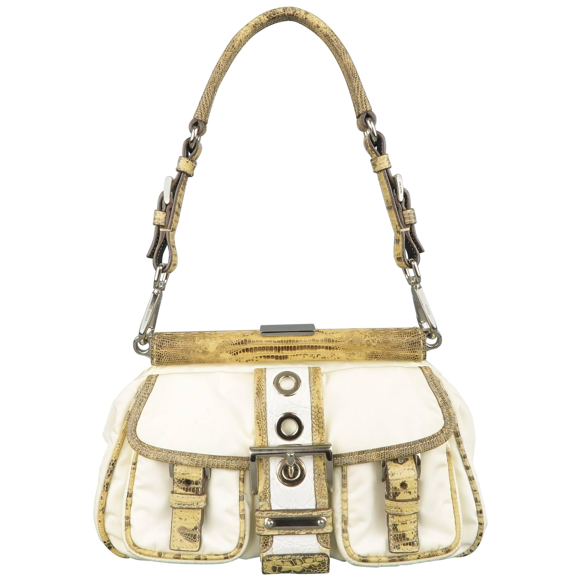 Prada Cream Nylon & Lizard Leather Grommet Buckle Handbag Z5FQae
