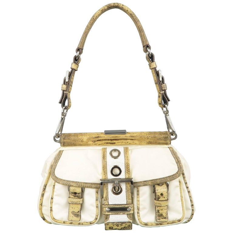PRADA Cream Nylon & Lizard Leather Grommet Buckle Handbag