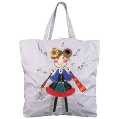 Prada Lavender Nylon Robot 6 Lady Embellished Tote Handbag