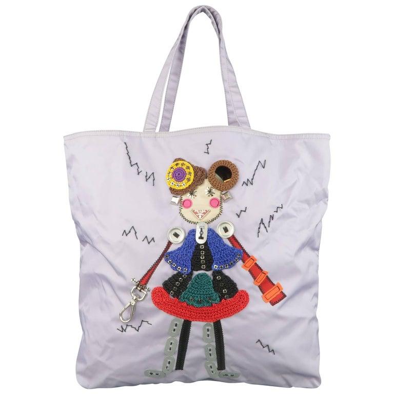 ea59c6a78064 Prada Lavender Nylon Robot 6 Lady Embellished Tote Handbag For Sale ...