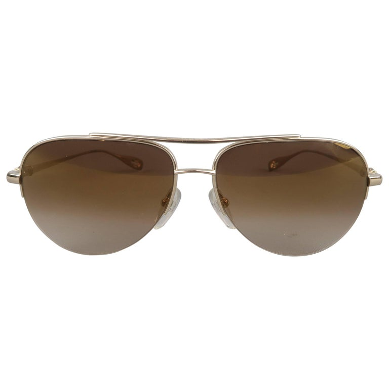 ee2da0f5c7 CHROME HEARTS Gold Tone Metal Brown Lens STAINS Aviator Sunglasses For Sale  at 1stdibs