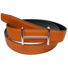 Hermes 32 mm Kilt Belt Buckle Idem Shin Palladium and Strap Black Potiron 105cm