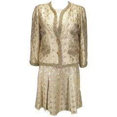 Circa 1960/170's Chanel Dress Suit Haute Couture Silk damask Size FR38 / US8