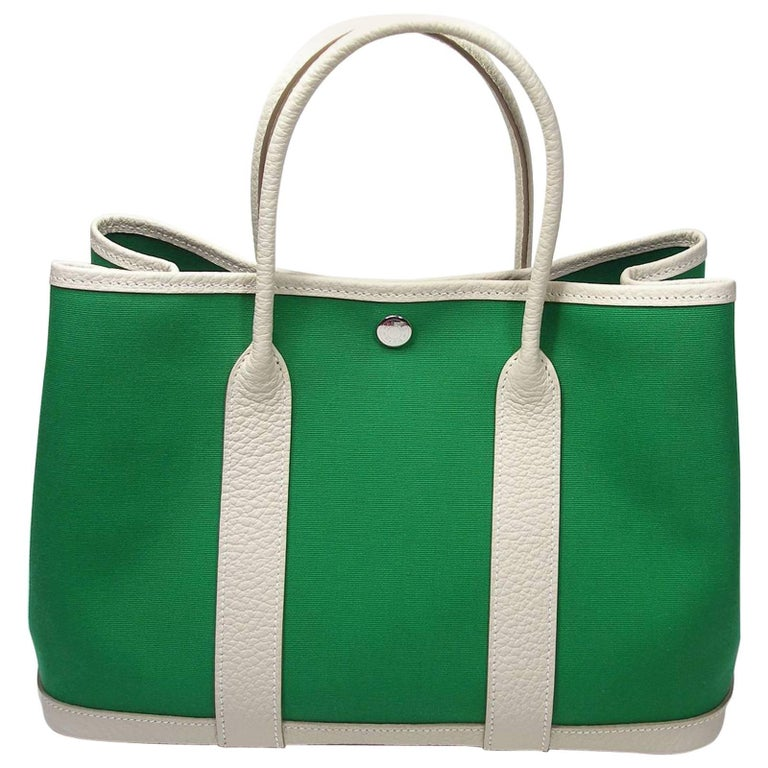 1e8601f796e2 Hermès Garden Party Bag 30 cm PM Size Cactus Canvas + Craie Leather For Sale