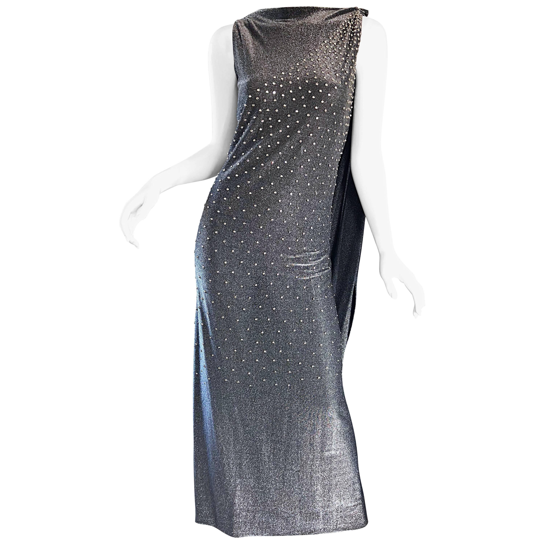 Geoffrey Beene 1960s Gunmetal Metallic Silk Lurex Rhinestone Vintage Cape Gown