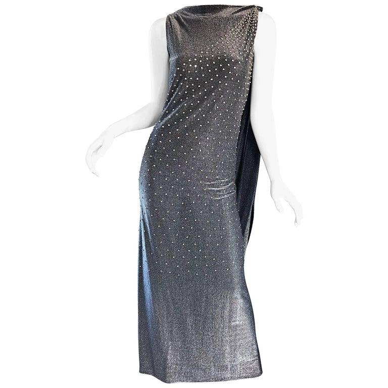 Geoffrey Beene 1960s Gunmetal Metallic Silk Lurex Rhinestone Vintage Cape Gown For Sale