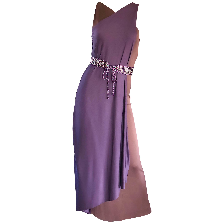 Vintage Bill Blass 1970s Purple + Brown Grecian Inspired Silk Jersey Belted Gown