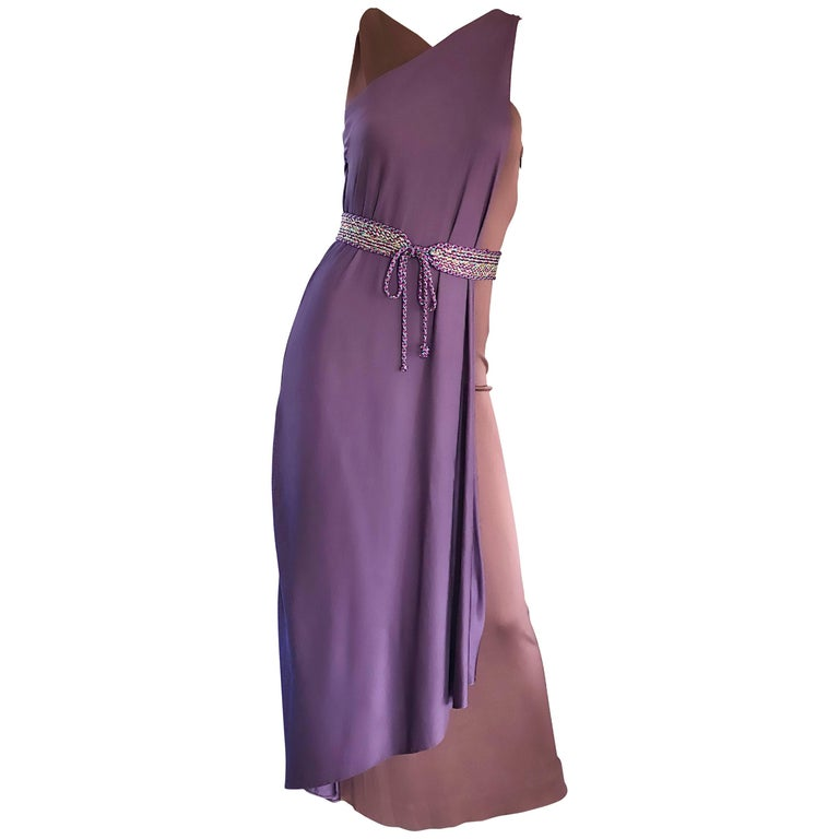 Vintage Bill Blass 1970s Purple + Brown Grecian Inspired Silk Jersey Belted Gown For Sale