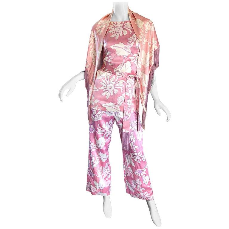 Geoffrey Beene Vintage 1970s Pink + White Four Piece Silk Pants Top Belt & Shawl For Sale