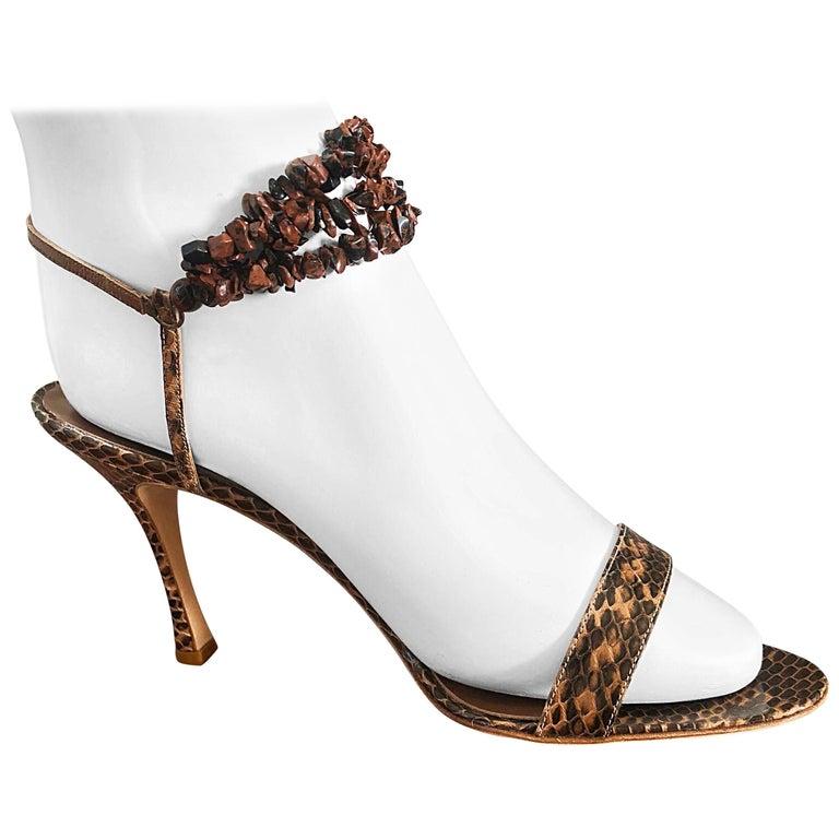 New Manolo Blahnik Brown Snake Skin Python Sz 40.5 US 9.5 / 10 High Heel Sandals For Sale