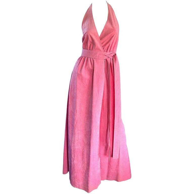 1970s Halston Bubblegum Pink Ultrasuede Vintage 70s Halter Wrap Maxi Dress