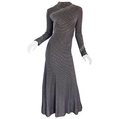 Pauline Trigere 1970s Black, White, Brown Rhinestone Encrusted Vintage 70s Gown