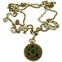 Chanel Vintage 1985 Gripoix Medallion Pendant Necklace