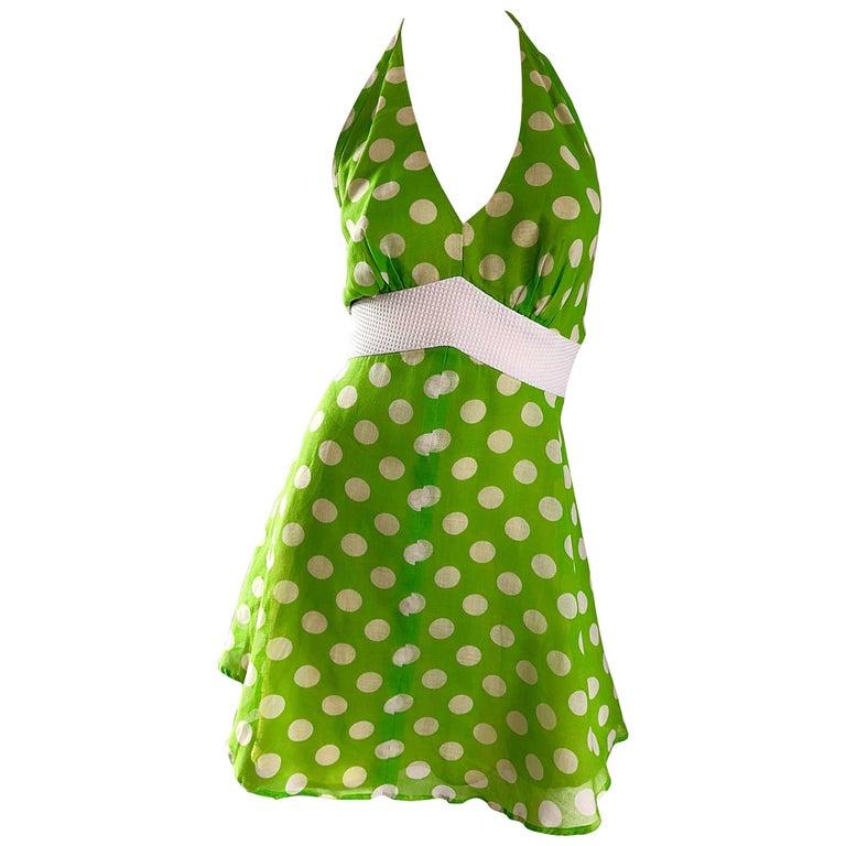 Vintage Lime Green + White Polka Dot 1990s Cotton Voile 90s Halter Mini Dress