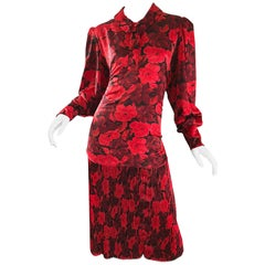 Vintage NIna Ricci Size 14 / 16 Red Black Flapper Style Flower Drop Waist Dress