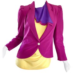Salvatore Ferragomo Vintage Fuchsia + Yellow Colorblock Blouse + Blazer Jacket