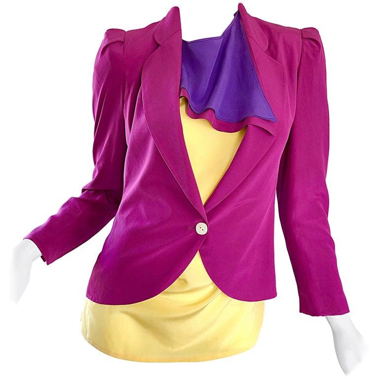 Salvatore Ferragomo Vintage Fuchsia + Yellow Colorblock Blouse + Blazer Jacket For Sale