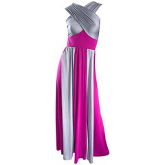 Gorgeous 1970s Gray + Fuchsia Pink Colorblock Jersey Grecian 70s Maxi Dress