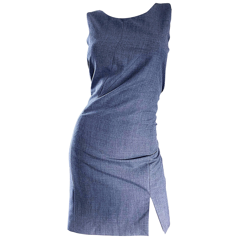 Richard Tyler Vintage 1990s NWT $4,000 Gray Wool 90s Sheath Dress Size 40