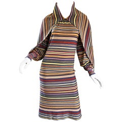 Missoni Vintage 1970s Rare Striped Wool Long Sleeve 70s Cape Dress Bonwit Teller