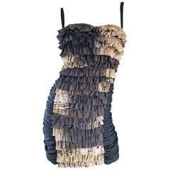 Marie Grazia Panizzi Sexy Avant Garde Convertible Strap Pinstripe Mini Dress
